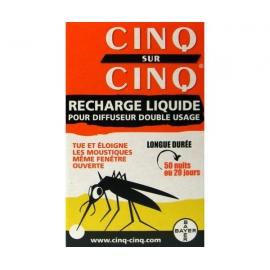 Cinq Sur Cinq Recharge Liquide Anti-moustiques Pour Diffuseur Double Usage 450 Heures