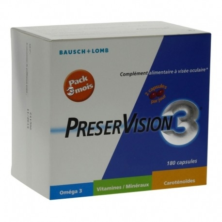 Bausch + Lomb PreserVision 3 Protection Yeux 180 Capsules