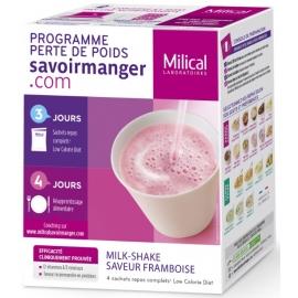 Milical Perte de poids Milk-Shake Saveur Framboise 4 Sachets