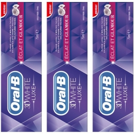 Oral-B 3D White Luxe Eclat et Glamour 75 ML x 3