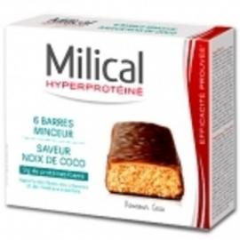 Milical Hyperproteine Barres Minceur Chocolat Noix de Coco X 6