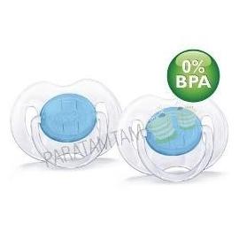 Avent sucettes 6-18 mois transparantes bleues sans BPA lot de 2