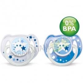 Avent sucettes 6-18 mois nuit décorées  sans BPA lot de 2