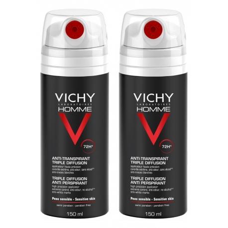Vichy Homme Anti-tranpirant 72H Triple Diffusion 2 x 150 ml