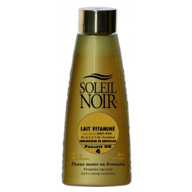 Soleil Noir Lait Vitaminé Indice 4 Pailletté Or 150 ml