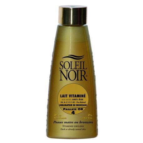Soleil Noir Lait Vitaminé Indice 4 Pailletté Or 150 ml