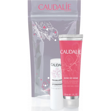 Caudalie Duo Hiver Crème Mains & Ongles Rose de Vigne 30ml + Soin des lèvres 4,5 g