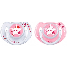 Avent Sucette Silicone 6-18 mois Duo nuit Rose