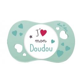 """Luc et Léa Sucette Physiologique """"J'aime mon Doudou"""" 6-18 mois"""