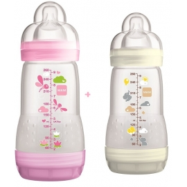 MAM Biberon Easy Start 0+ Mois Nature Sky Blanc Rose 260 ml x 2