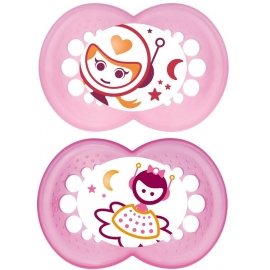 MAM Sucette Silicone Anatomique Nuit Fille x 2