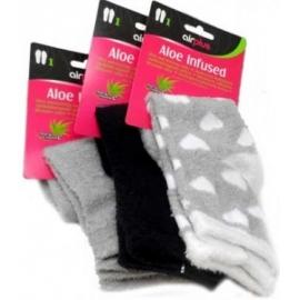 Airplus Chaussettes de Confort Imprégnées à Aloe Vera Grises Coeurs blanc Paire x 1
