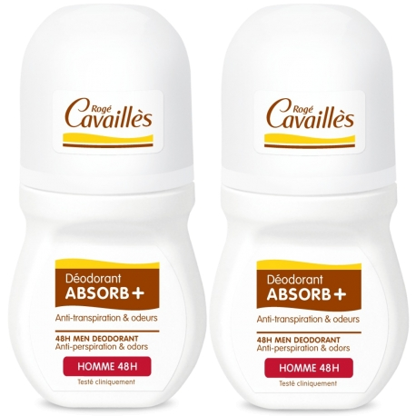 Rogé Cavailles Homme déodorant absorb+ 48h roll-on 2 x 50 ml