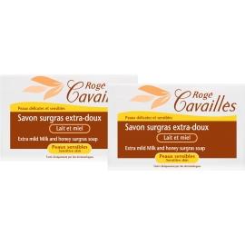 rogé cavaillès savon surgras extra-doux lait et miel 2 x 250 g