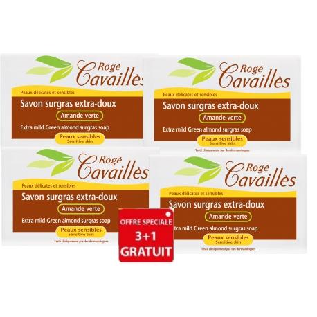 rogé cavaillès savon surgras extra-doux amande verte 3 x 250 g + 1 gratuit