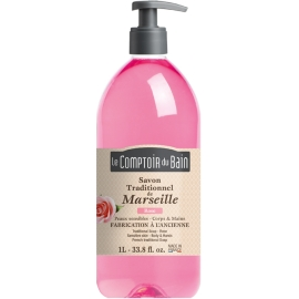 Le Comptoir du Bain Savon Traditionnel de Marseille Rose 1 l