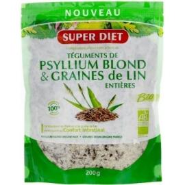 Super Diet Téguments De Psyllium Blond & Graines De Lin Entières Bio 200g