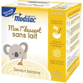"""Modilac Expert """"Mon 1er Dessert Sans Lait"""" Saveur Banane 12 Sachets"""
