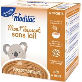 """Modilac Expert """"Mon 1er Dessert Sans Lait"""" Saveur Caramel 12 Sachets"""