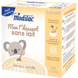 """Modilac Expert """"Mon 1er Dessert Sans Lait"""" Saveur Vanille 12 Sachets"""