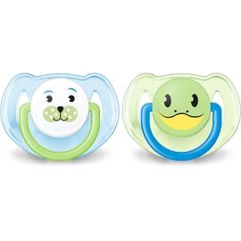 Avent sucettes 6-18 mois décorées animaux sans BPA lot de 2