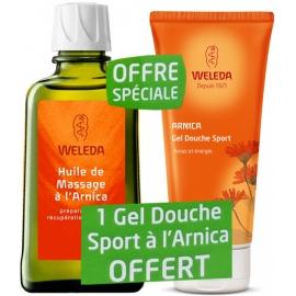 Weleda Huile de Massage a L'arnica 200 ml + arnica gel douche sprot 200 ml offert