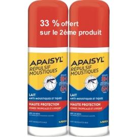 Apaisyl Répulsif Moustiques Lait Anti-Moustiques & Tiques 2 x 90 ml 33 % Offert Sur Le 2ème Produit