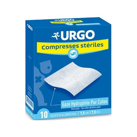 Urgo Compresses Stériles Gaze Hydrophile Pur Coton 7,5 cm x 7,5 cm x 10 Sachets