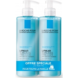 La Roche-Posay Lipikar Surgras Crème lavante anti-dessèchement 2 x 400 ml