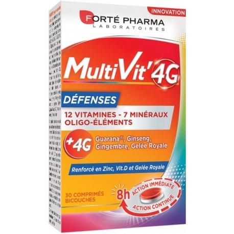 Forté Pharma MultiVit'4G Défenses 30 Comprimés