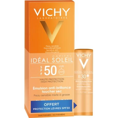 Vichy Idéal Soleil Spf 50 émulsion Anti-brillance 50 ml + stick offert