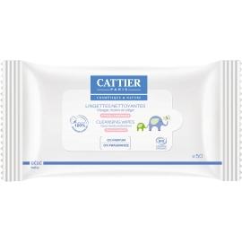 Cattier Bébé Lingettes Nettoyantes Bio x 50