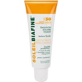 SoleilBiafine émulsion Solaire visage Spf 50 Texture Fluide 50 ml