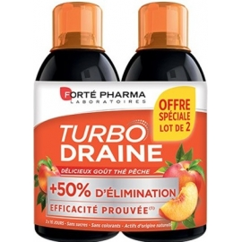 Forte Pharma Turbodraine Goût Thé Vert - Pêche 2 x 500 ml