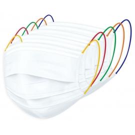 Masque chirurgical Type IIR blanc et élastiques colorés Boite de 50 Orgakiddy