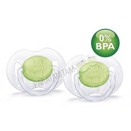 Avent sucettes 0-6 mois transparantes vertes sans BPA lot de 2