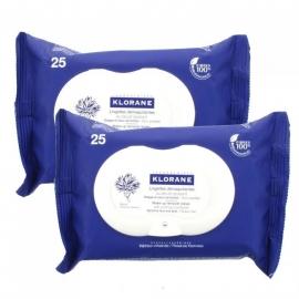 Klorane bleuet lingettes démaquillantes x 25 lot de 2